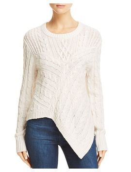 Asymmetric Cable Knit Sweater   100 Percents Exclusive by Aqua