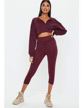 Burgundy Cropped Leggings by Missguided