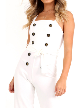 White Button Front Belted Culotte Jumpsuit   Magy by Rebellious Fashion