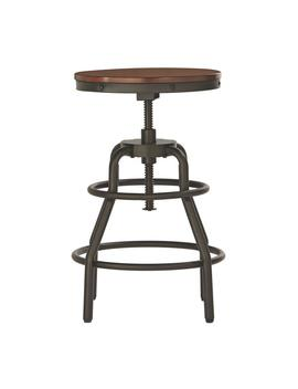 Industrial Mansard Adjustable Height Black Bar Stool by Home Decorators Collection