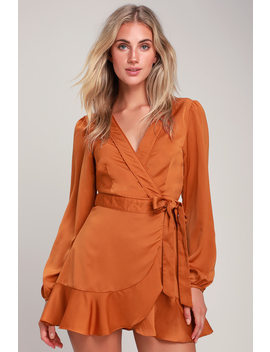 Lilya Rust Orange Long Sleeve Satin Wrap Dress by Lulus