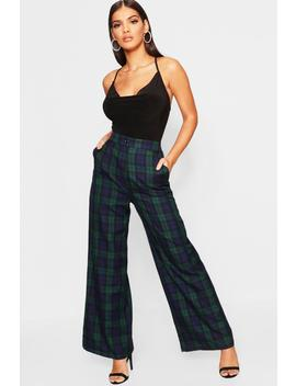 Tartan Check Wide Leg Trousers by Boohoo