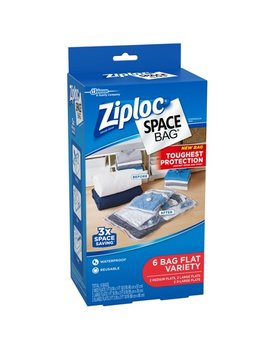 Ziploc Space Bags 6 Count Flat Bags: 2 Medium, 2 Large, 2 Extra Large by Ziploc