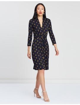 Lemon Print Jersey V Neck Dress by French Connection