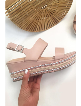 Pink Multi Strap Stud Sole Platforms   Perley by Rebellious Fashion