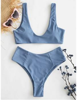 Zaful High Waisted Scoop Bikini Set   Blue Gray M by Zaful