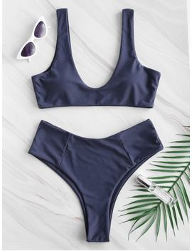 Zaful High Waisted Scoop Bikini Set   Dark Slate Blue M by Zaful