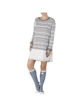 Secret Treasures Women's And Women's Plus Cozy Jersey Sleepshirt And Knee High Sock 2piece Giftable Sleepwear Set by Secret Treasures