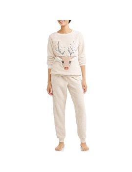 Jammers Women's And Women's Plus Reindeer Plush Twosies Set by Secret Treasures