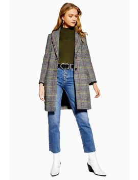 Petite Piper Check Coat by Topshop