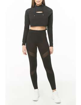 Sheer Mesh Panel Leggings by Forever 21