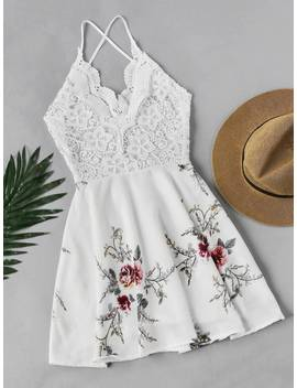 Floral Print Lace Panel Criss Cross Back Dress by Sheinside