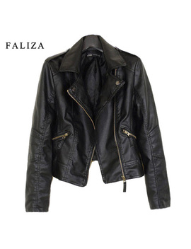 Faliza 2018 New Fashion Women Leather Jackets Short Pu Leather Jacket Woman Female Moto Casaco Feminino Turn Down Collar Jk002 by Faliza