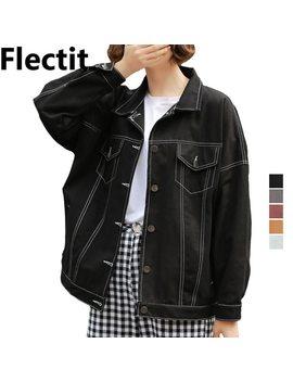 Flectit Black White Ginger Oversized Denim Jacket For Women Casual Jackets Bomber Coat Female Autumn Winter Jeans Jacket 2018 by Flectit