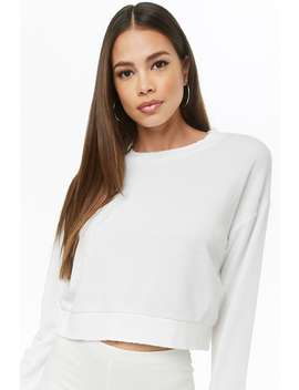 Fleece Distressed Trim Sweater by Forever 21