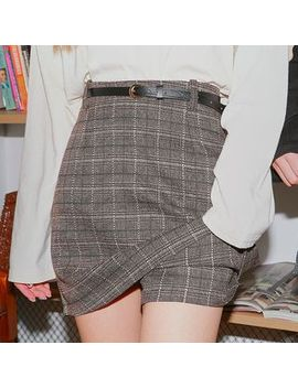 Icecream12   Inset Shorts Plaid Mini Skirt With Belt by Icecream12