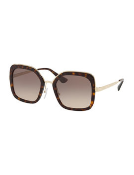 Rimmed Square Metal Sunglasses by Prada