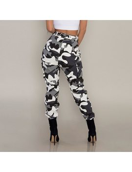 Camouflage Pants Womens Camo Cargo Sweat Pants High Waist Elastic Trousers Casual Baggy Joggers Print Pockets Harem Pants#Ghc by Ishowtienda