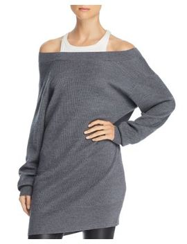Layered Look Cold Shoulder Tunic Sweater by Alexanderwang.T