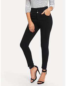 Button Front Skinny Jeans by Sheinside