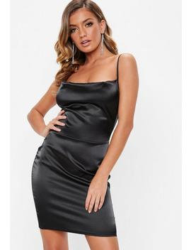 Black Satin Cowl Front Mini Dress by Missguided