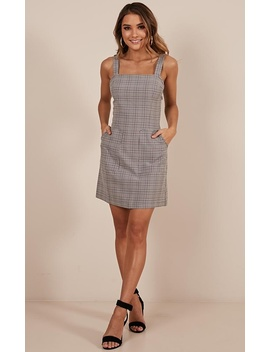Rare Find Dress In Grey Check by Showpo Fashion