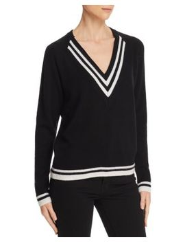 Cashmere Varsity Stripe V Neck Sweater   100 Percents Exclusive by Aqua Cashmere
