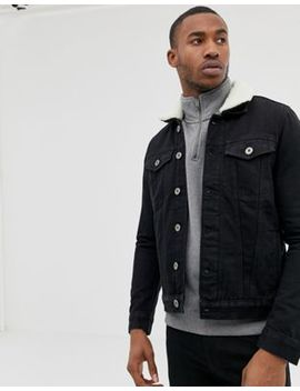 River Island Fleece Lined Denim Jacket In Black by River Island