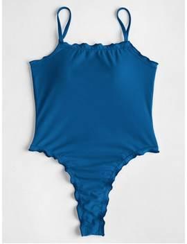 Lettuce High Cut One Piece Swimsuit   Lapis Blue M by Zaful