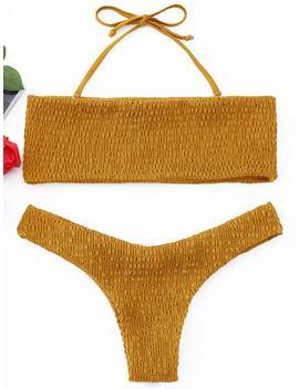 Smocked Bandeau Bikini Set   Ginger L by Zaful