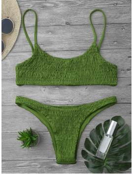 Smocked Bikini Top And Bottoms   Grass Green L by Zaful