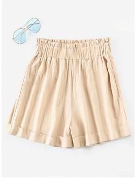 Zaful Cuffed Wide Leg Shorts   Blanched Almond M by Zaful