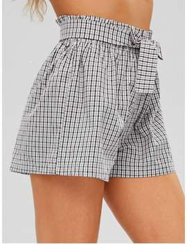Checkered Tie Waist High Waisted Shorts   Multi L by Zaful