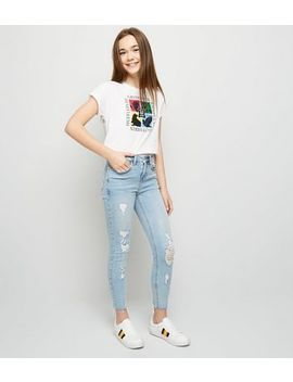 Girls Pale Blue Ripped Knee Skinny Jeans by New Look