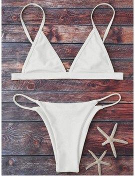 Cami Plunge String Bikini Set   White M by Zaful