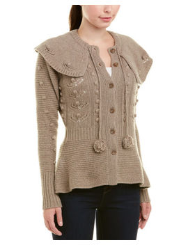 Autumn Cashmere Womens  Popcorn Wool & Cashmere Blend Capelet, S, Brown by Autumn Cashmere