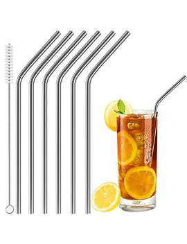 Acerich Set Of 6 Stainless Steel Straws Reusable Metal Drinking Straws For 30 Oz & 20 Oz Tumblers Cups Mugs Cold Beverage, Free Cleaning Brush Included by Acerich