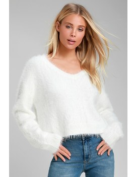 Daily Snuggle White Eyelash Knit Sweater by Lulus