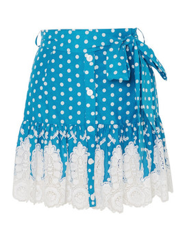 Emy Crocheted Polka Dot Cotton Mini Skirt by Miguelina