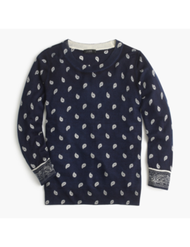 Nwt J. Crew Women's Bandana Printed Tippi Sweater   Navy Ivory   Size Small by J.Crew