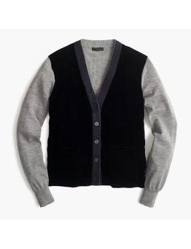 Nwt J. Crew Women's Harlow Cardigan Sweater W/ Velvet Front   Graphite   Small by J.Crew