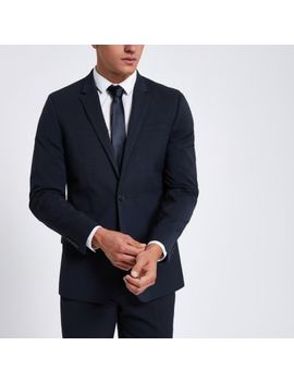 Dark Blue Slim Fit Suit Jacket by River Island