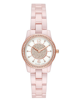 Women's Mini Runway Pink Stainless Steel Bracelet Watch 28mm by Michael Kors