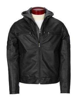 Faux Leather Jacket With Removable Hood by Murano