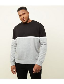 Plus Size Black Colour Block Sweatshirt by New Look