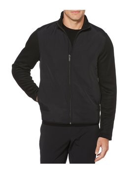 Solid Stretch Full Zip Fleece Jacket by Perry Ellis