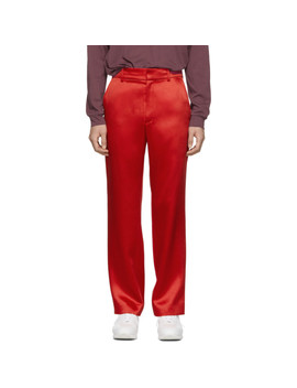 Red Satin Toby Trousers by Sies Marjan