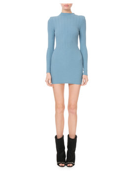 Mock Neck Crochet Ribbed Knit Button Shoulder Mini Dress by Neiman Marcus