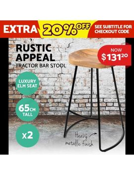 2x Vintage Tractor Bar Stool Retro Barstool Industrial Dining Chair 65cm Natural by Unbranded