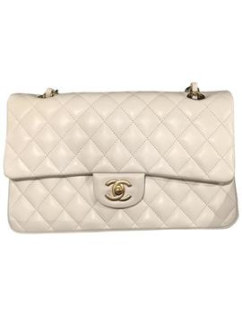 Small Classic Double Flap In Pure Champagne Gold Hardware White Lambskin Leather Shoulder Bag by Chanel